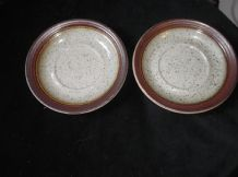2 X STONEWARE SAUCERS SPECKLED WITH LUSTRE BROWN METALLIC RIM 5.75""